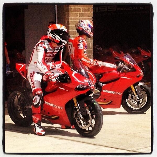 Ben Spies and Nicky Hayden testing at COTA--Austin, Texas.