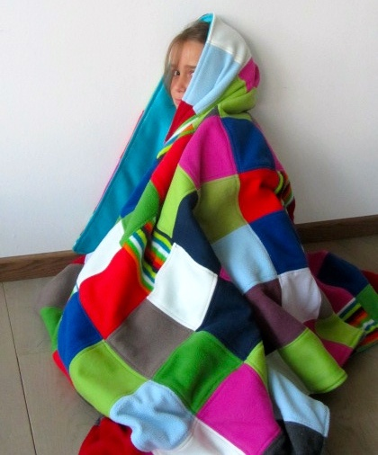 Fleece quilt.  Sew seams, then press open and sew seam allowance flat.