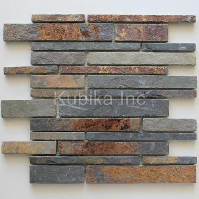 Stone Mosaic Tile Kitchen Backsplash Multicolor Slate $4.49