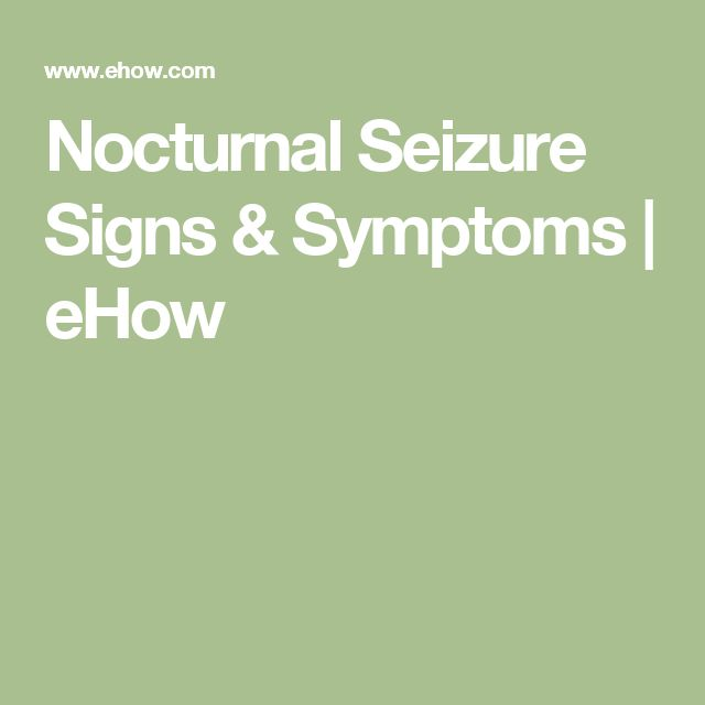 Nocturnal Seizure Signs & Symptoms | eHow