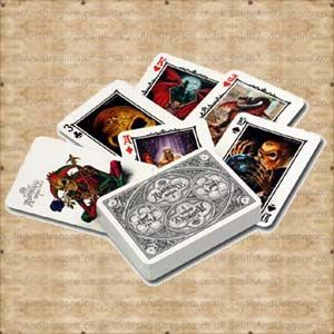 A Deck of full colour playing cards featuring 53 classic Alchemy Gothic Artwork including skeletons, skulls and dragons. The Alchemy Arcana Playing Cards by Alchemy in The Skulls and Dragons Playing Card range.    Height : 9 cm    Width : 6 cm    Length : 2 cm    Weight : 94.00g    Made from card    Ref : SDCARD2   Price : 5.50 GBP