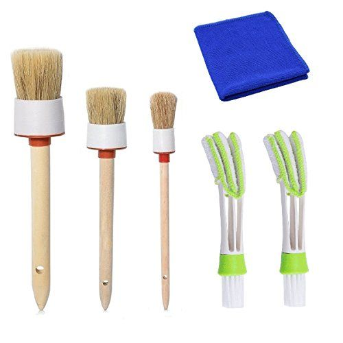 Natural Boar Hair Auto Brush (Set of 6), Car Interior Cleaning Detailing Brushes Set Car Brushes for Interior, Detail,Wheel, Dashboard, Exterior, Leather, Air Vents, Emblems. For product info go to:  https://www.caraccessoriesonlinemarket.com/natural-boar-hair-auto-brush-set-of-6-car-interior-cleaning-detailing-brushes-set-car-brushes-for-interior-detailwheel-dashboard-exterior-leather-air-vents-emblems/