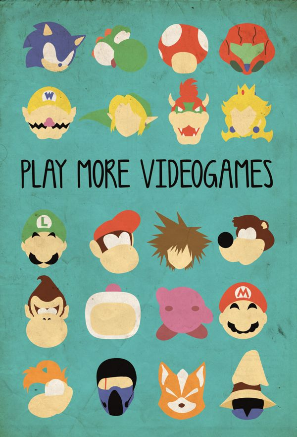 Poster - Play more videogames by Luíza Duarte, via Behance