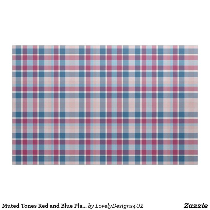 Muted Tones Red and Blue Plaid Pattern Fabric