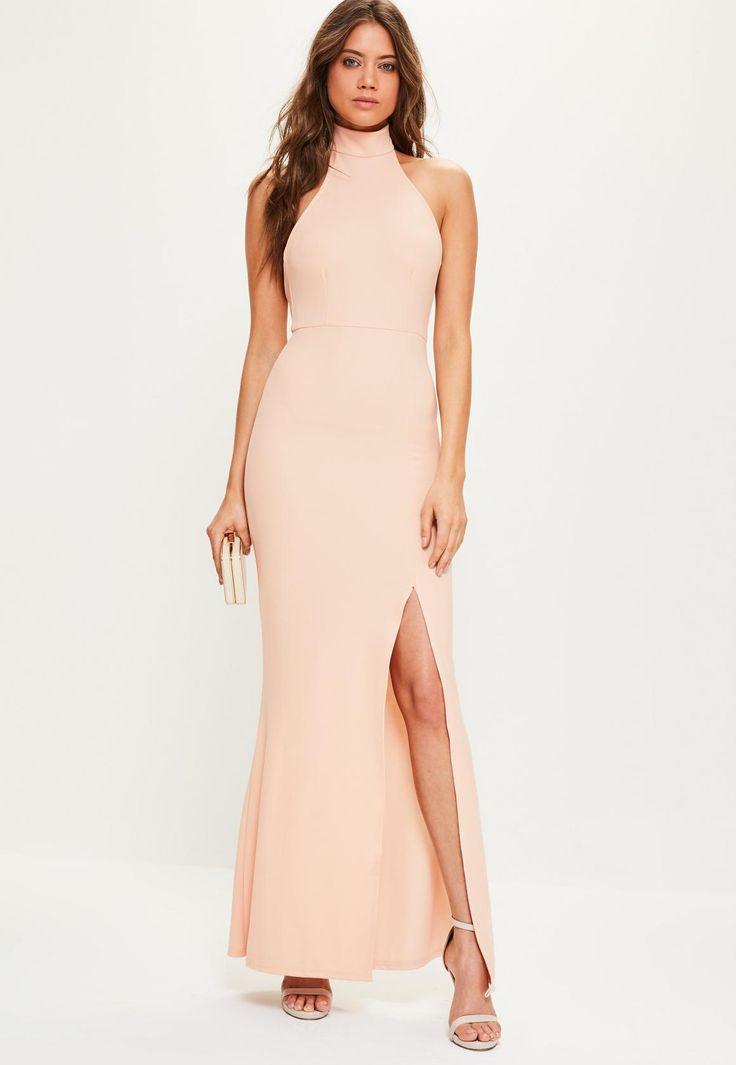 Missguided - Pink Maxi Choker Dress