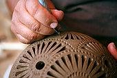 Oaxaca: Preparing el barro negro, the black pottery, for firing.