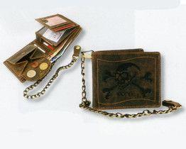 PORTFEL SKÓRA ŁAŃCUCH 1796-SKULL-25