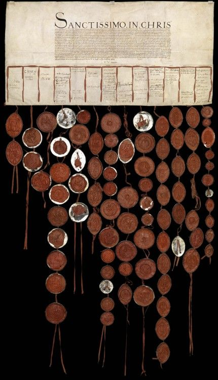 A letter to Pope Clement VII pleading for the annulment of the marriage of King Henry VIII and Catherine of Aragon is seen in the Vatican Secret Archives. The letter includes the wax seals of the members of the English House of Lords, clergy and other nobility who wrote and signed it.