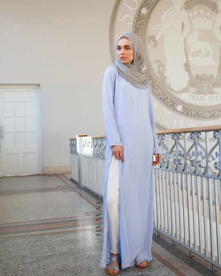 In a beautiful Spring inspired hue, this maxi drapes beautifully providing style and modest coverage - Pale Blue Split Front #Maxi + Feather Grey Maxi Silk Chiffon #Hijab - both items available in-store and online - www.inayah.co