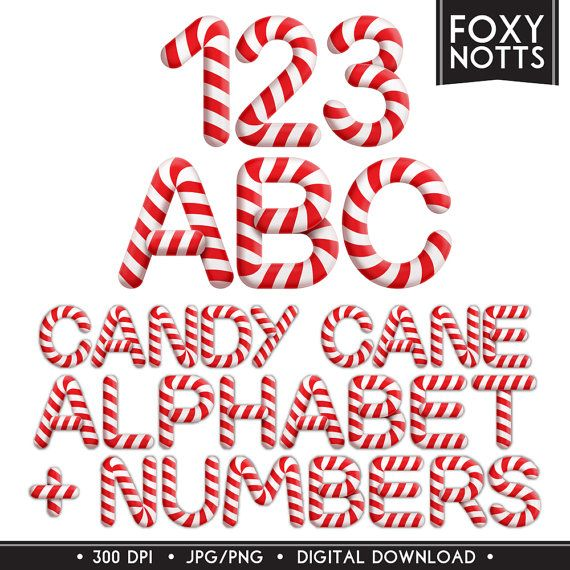 Candy Cane Christmas Alphabet & Numbers Font: Digital by foxynotts