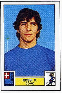Paolo Rossi, Calcio Como 1975. Paolo Rossi, born 23 September 1956, Italian international striker (1977–1986, 48 caps, 20 goals). Juventus (1973–1975), Como (1975–1976, on loan), Vicenza (1976–1979), Perugia (1979–1980, on loan), Juventus (1981–1985), Milan (1985–1986), Hellas Verona (1986–1987). In 1982, he led Italy to the 1982 FIFA World Cup title, scoring 6 goals to win the Golden Boot as top goalscorer, and the Golden Ball for the player of the tournament. Rossi is one of only three…