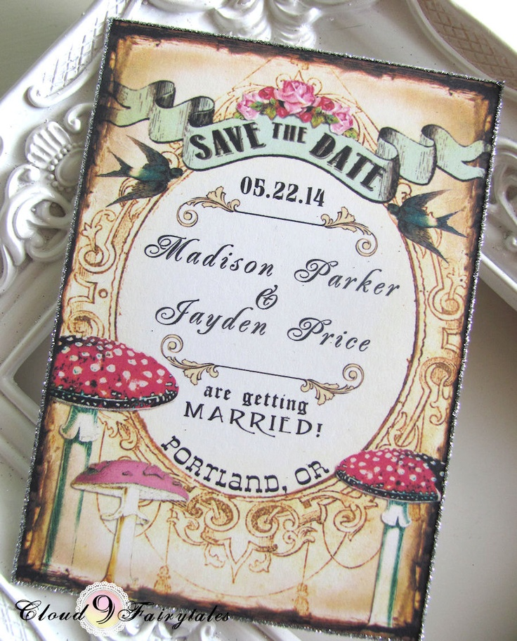 cruise wedding save the date announcement%0A Vintage Save the Date Wedding Invitations Woodland Magical Forest Birds  Mushrooms Fairytale Rustic Style