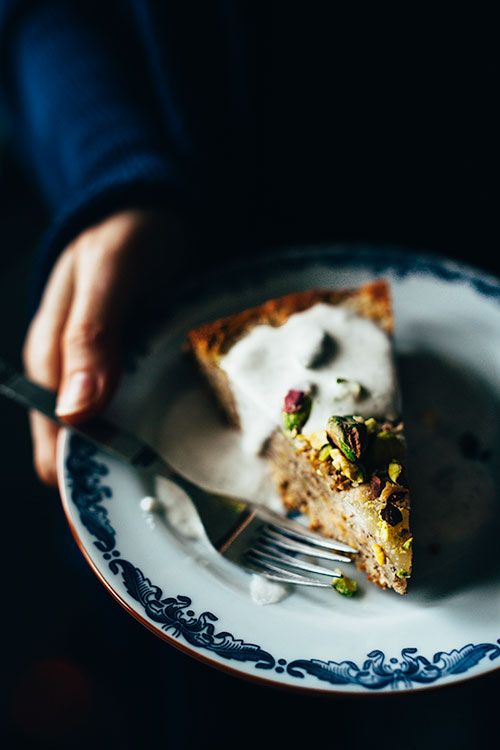 ALMOND, PISTACHIO & PEAR UPSIDE DOWN TORTE [goodeatings]
