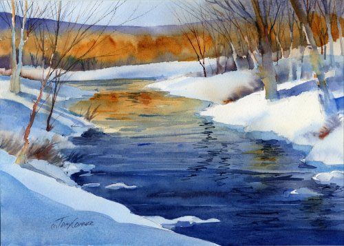 winter watercolor landscape painting by Vermont artist Tony Conner