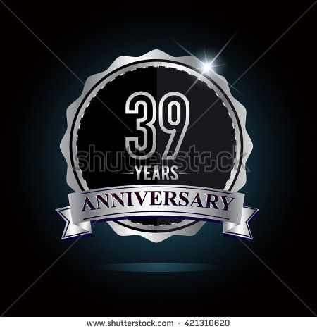 39th anniversary logo with ribbon. 39 years anniversary signs illustration. Silver anniversary logo with ribbon. - stock vector