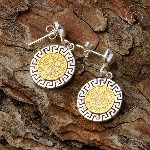 Phaistos Disk  Meander Silver Earrings Greek by CircleOfLifeGreece