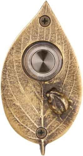 Ladybug on Leaf Doorbell in Antique Brass