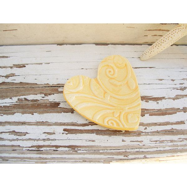 Yellow ring dish small rustic heart dish jewelry holder ceramic... ($6.50) ❤ liked on Polyvore featuring home, home decor, jewelry storage, heart vessels, ceramic ring dish, ceramic dishes, heart shaped dish and ceramic vessels
