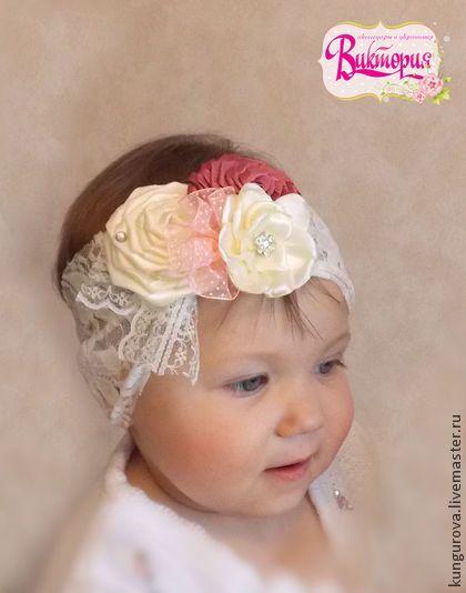 Повязка Винтаж - кремовый,повязка на голову,повязка для девочки,кружевная повязка