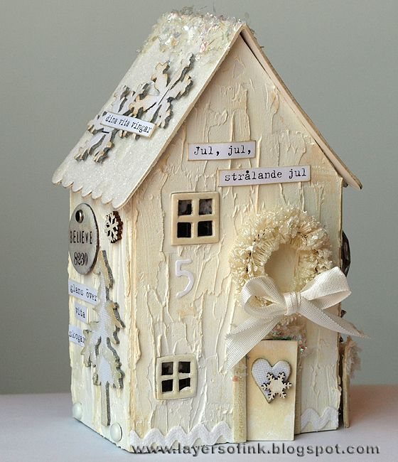 Layers of ink: Winter Wonderland House tutorial made for Simon Says Stamp and Show, using Eileen Hull's Sizzix House die and lots of techniques. Full tutorial:http://layersofink.blogspot.com/2012/12/winter-wonderland-house.html