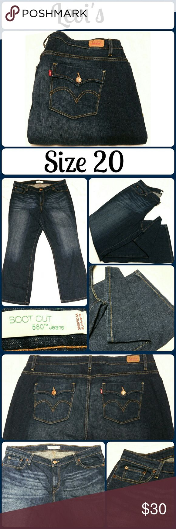 """Sz 20m Levi's 580 boot cut, Unique Pocket Design Medium Wash, Barely Used. Good as brand new. This jeans has contoured waistline to flatter you in the right places, without bagginess around the legs, it elongates your legs. 98% Cotton, 2% Elasthanne. Waist 42"""", Inseam 32"""", Rise 12? No rips, tears, or stains, no wear anywhere, no wear on bottom hems either  ... From a smoke-free, dog friendly home, No trades (T89) Levi's Jeans Boot Cut"""
