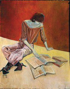 La lectrice tableau Artiste Bivan