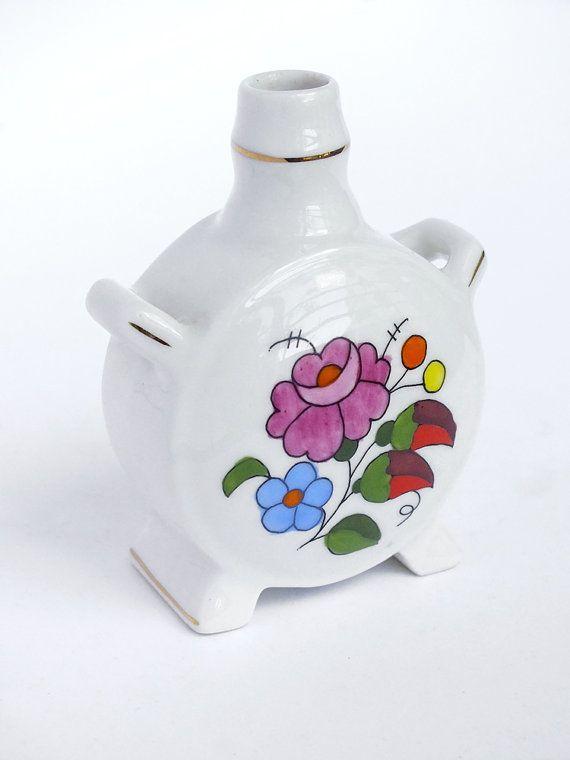 Vintage Floral Handpainted Hungarian Vase - European Hungarian Pottery - China Porcelain Cute Home Decor - Kalocsa Hungarian Folk Art