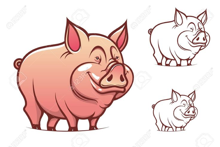 Farm Cartoon Pink Pig Isolated On White Royalty Free Cliparts ...