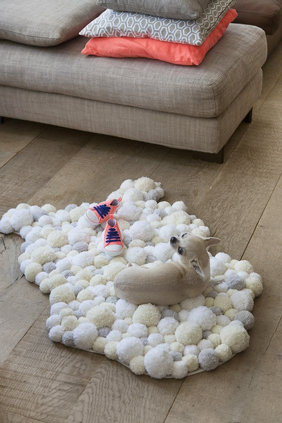 Un tapis de pompons