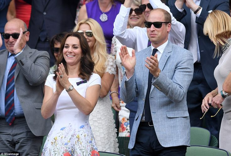 Three cheers for Roger! The Duchess looked thrilled for Federer who has become a good frie...