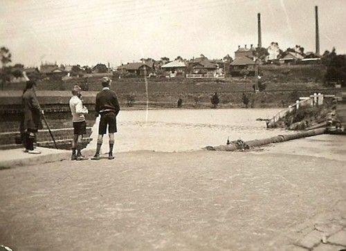 MP 60083. Photograph of Toorak Road bridge demolished by flood water from Gardiners Creek; 1 December 1934.