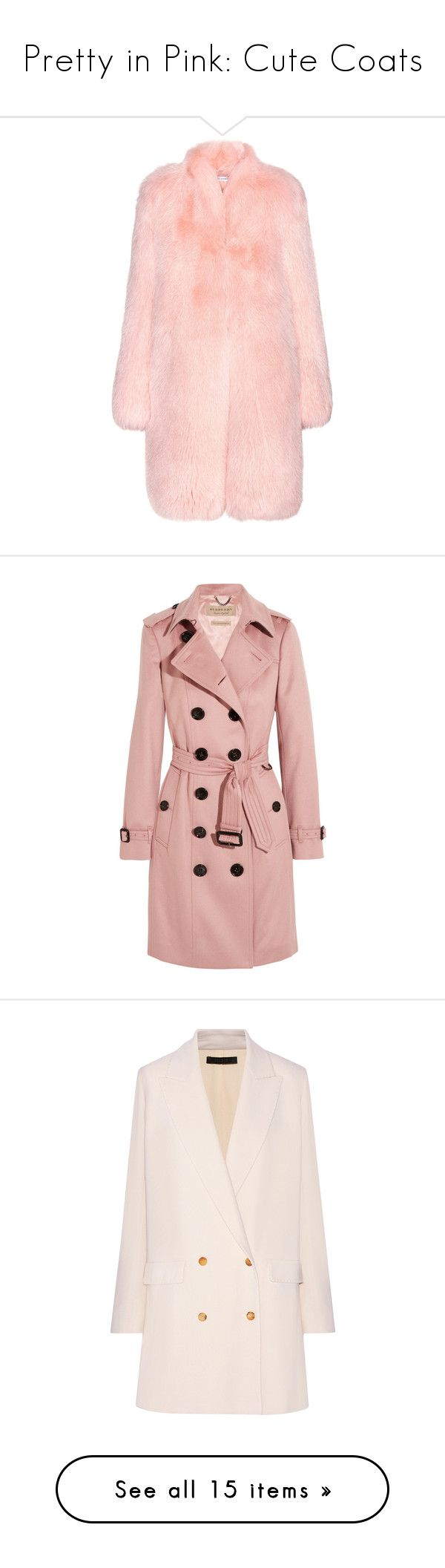 """Pretty in Pink: Cute Coats"" by polyvore-editorial ❤ liked on Polyvore featuring pinkcoats, outerwear, coats, jackets, fur, pink, fox fur coat, light pink coat, pink coat and altuzarra"