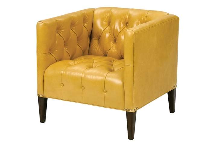 Yellow Leather Tufted Club Chair In Search Of The