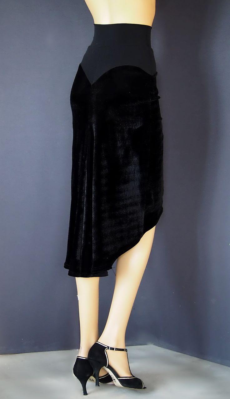 td 049 pencil velvet tango skirt