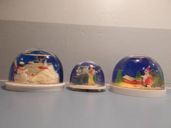 Vintage snow globe Christmas snow globes 3 Vintage snow