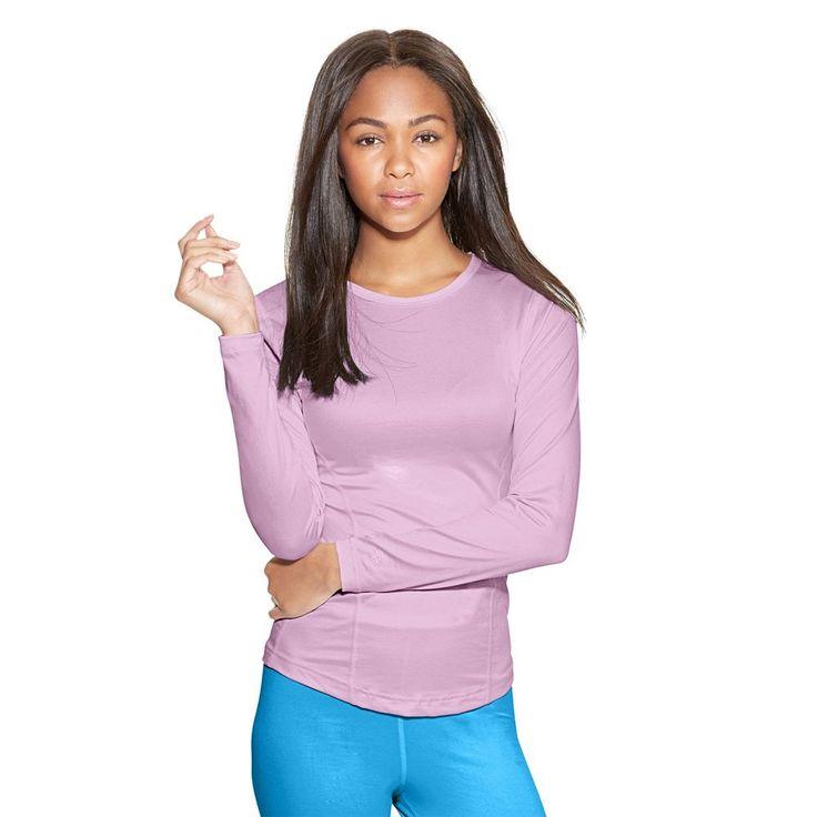 Women's Champion Varitherm Crewneck Base Layer Top, Size: Medium, Light Pink