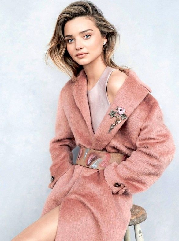 Who What Wear Blog Miranda Kerr Vogue Australia July 2014 Photographer Benny Horne Stylist Christine Centenera Fashion Editorial Salmon Pink Coat Wide Painted Leather Belt