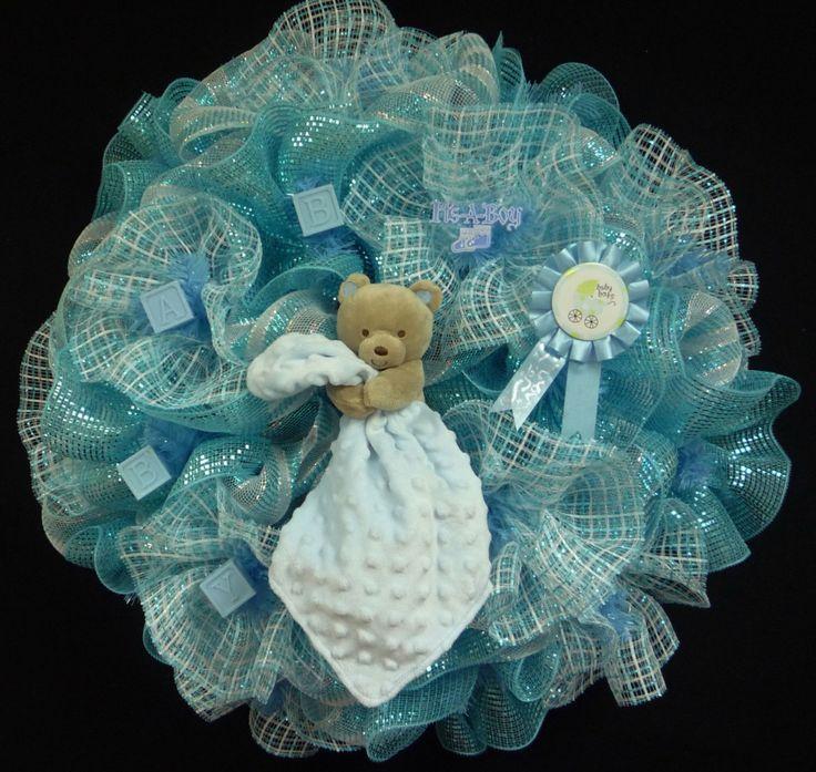 Its A Boy, Baby Boy Wreath, Baby Hospital Wreath, Baby Shower Decor, Baby Wreaths, Baby Shower Gifts - Item 912 by wreathsbyrobin on Etsy https://www.etsy.com/listing/170045672/its-a-boy-baby-boy-wreath-baby-hospital