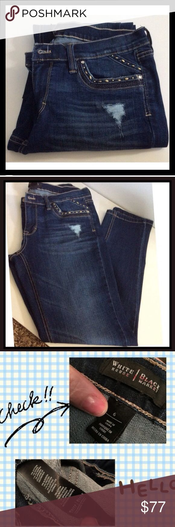 White House black market. Straight leg. Size 6 Women's adult size 6 Distressed denim jeans, with beading and a darker blue stitching on the back and front of the pocket. Inseam is 30 1/2, material is 73% cotton, 14% rayon, 11% polyester, 2% elastine... They do have a stretch to them. NWOT White House Black Market Jeans Straight Leg