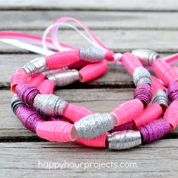 Duck Tape Bead Bracelet DIY . . .  Do with Dani? How To Make Duck Tape Beads at www.happyhourprojects.com