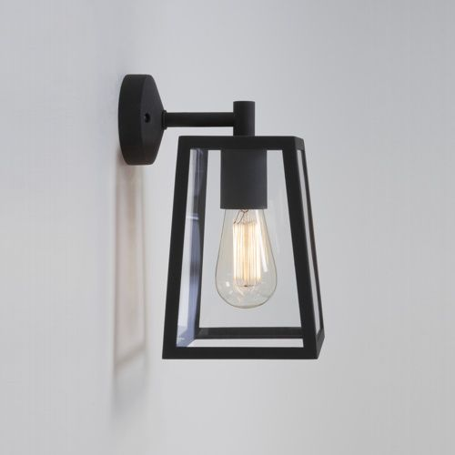 7105 Calvi Outdoor Wall Light - Outdoor wall light, made from metal with a black finish and clear glass panels.