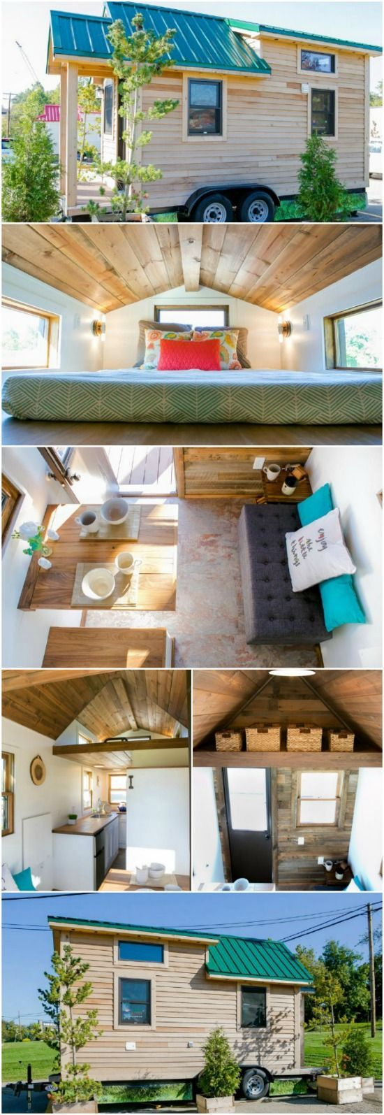 The Roving by 84 Lumber Packs a Powerful Punch in 154sf - Pennsylvania-based company, 84 Lumber, has a tiny house model that has caught our eye: The Roving. This 154 square foot tiny house on wheels is wrapped in rustic wood with a bright green metal roof. Inside, it has even more features which set it apart including a cork floor and wood accent wall. A fully outfitted Roving will cost you around $50,000 or you can get the shell for just $20,000.