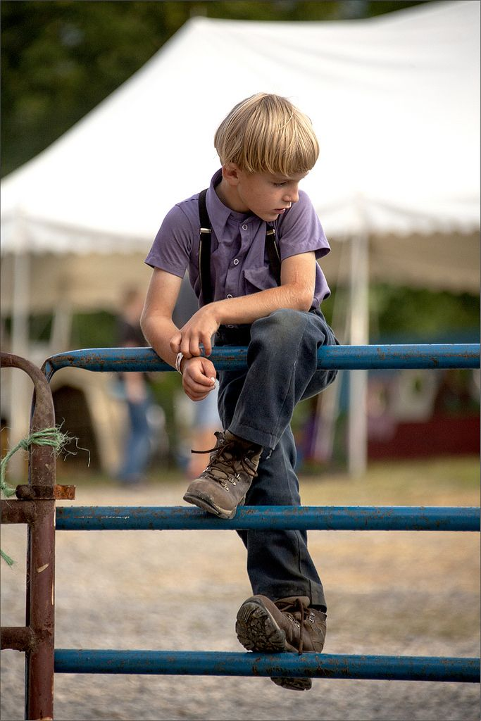 A young Amish boy waits for horses to enter a corral at a local fair.