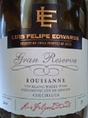 Another dinner and another couple of wines are brought to the table.  Appetizer wine is the Luis Felipe Edwards 2011 Gran Reserva Roussanne, this is the kind of wine meant for a guessing game known as 'What's the grape variety' ... Sometimes these can be humbling experiences and with all the tropical fruit, elegant spice and nice acidity, the guess is inevitably Chardonnay, but then there's something extra here:  could it be that spiciness?  No wait ...