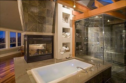I love this, but it needs to be closed off from the bedroom. I would also use stone instead of tile on the fireplace.