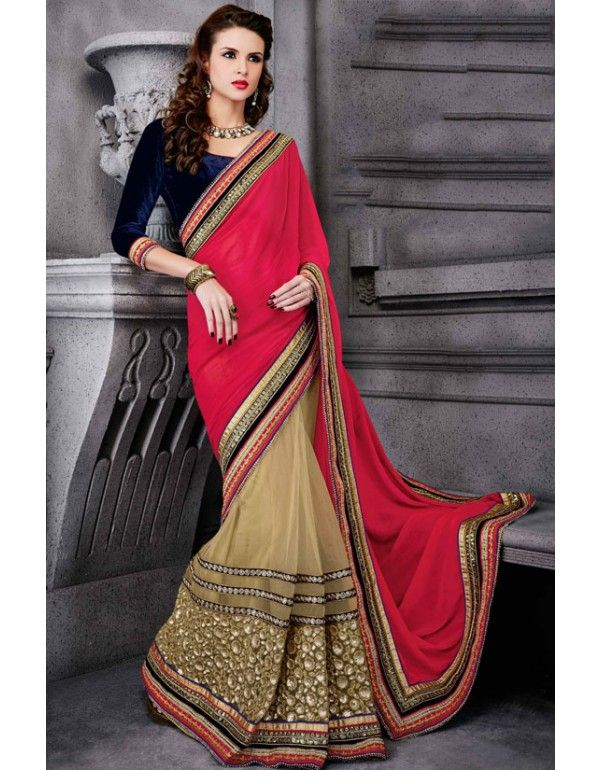 Gorgeous Beige and Pink Saree