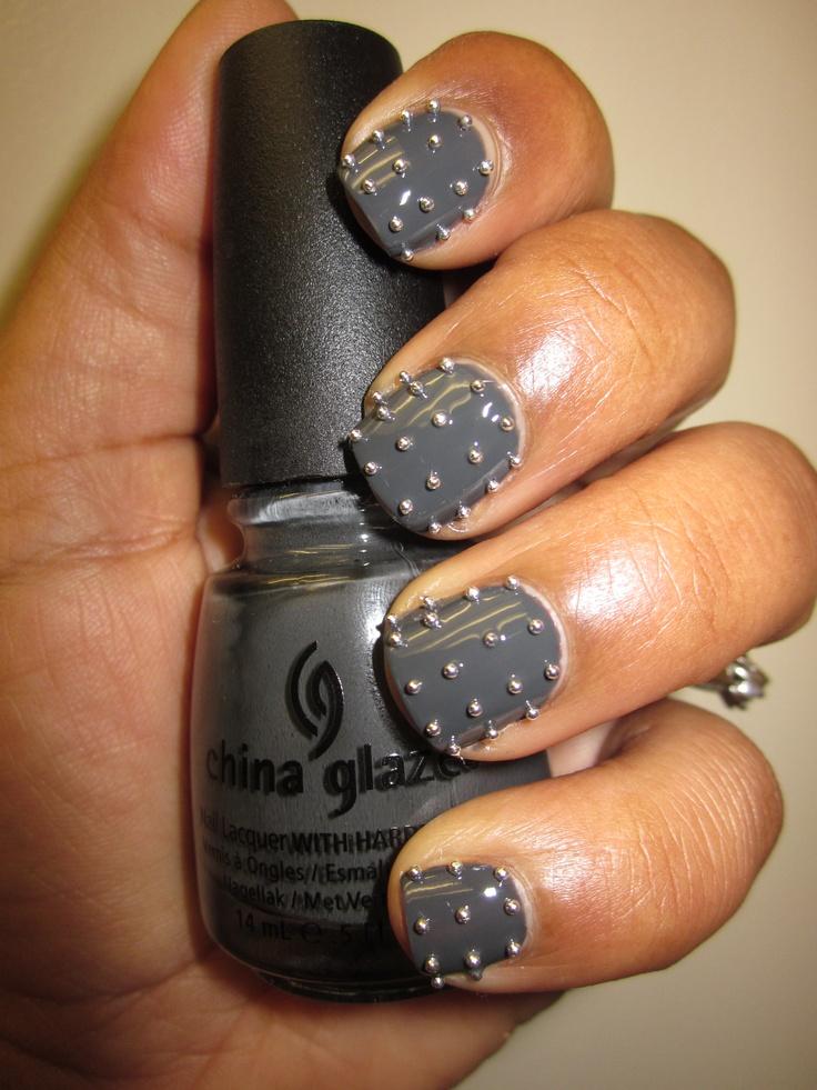 China Glaze Concrete Catwalk and silver bullions!Modern Nails, Manicures Catwalks, Fabulous Nails, Beautiful, Nails Nific, Catwalks Colours, Rocker Chic, Nails Obsession, Concrete Catwalks