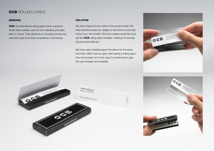 I wish I had gotten to do this job...OCB rolling paper business cards demonstrate the product.