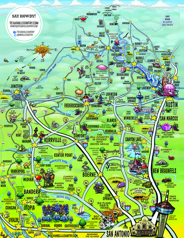 If you want to get a sense of the Hill Country in one image, this is it. This colorful map, which was created by TexasHillCountry.com and artist Kevin Middleton, captures all the nuance and uniqueness that has made the Texas Hill Country a destination on a number of popular travel lists.                                                                                                                                                     More
