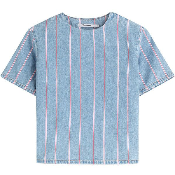 T by Alexander Wang Cropped Denim Top with Stripes found on Polyvore